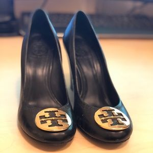 Tory Burch Black Leather Pump Wedge